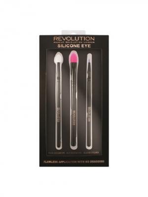 Набор силиконовых кистей для макияжа глаз Silicone Eye Set MakeUp Revolution. Цвет: черный, белый, фуксия