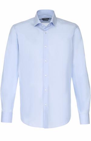 Хлопковая сорочка с воротником кент HUGO. Цвет: голубой