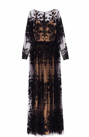 Приталенное платье-макси с контрастной вышивкой Zuhair Murad. Цвет: черный