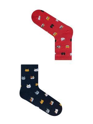 Набор женский Усы-лапы-хвост (2 пары в упаковке), дизайнерские носки SOXshop. Цвет: синий, красный