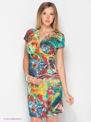 Платье ФЭСТ. Цвет: красный, желтый, зеленый