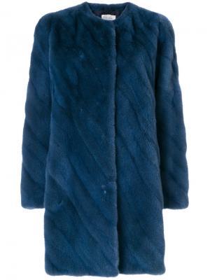 Норковая шуба средней длины Yves Salomon. Цвет: синий