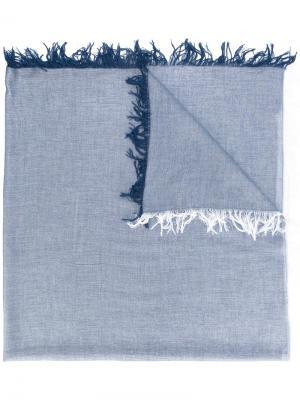 Шарф с бахромой Dondup. Цвет: синий