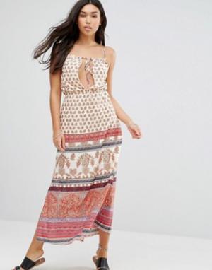 Anmol Пляжное платье макси с принтом. Цвет: красный
