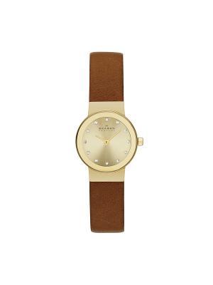 Часы SKAGEN. Цвет: коричневый, золотистый