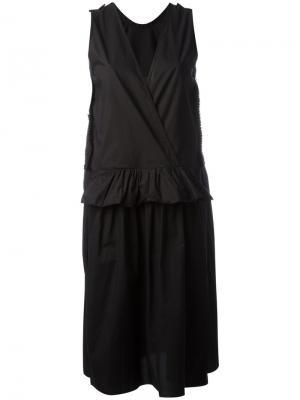 Платье с V-образным вырезом Sara Lanzi. Цвет: чёрный