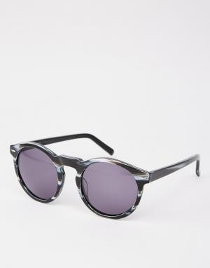 Dark Future Черные солнцезащитные очки в круглой оправе из ацетата ручной работы D. Цвет: черный