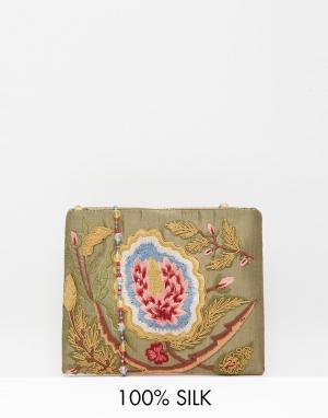 Moyna Оливковая шелковая сумка через плечо с вышивкой и бисером. Цвет: оливковый