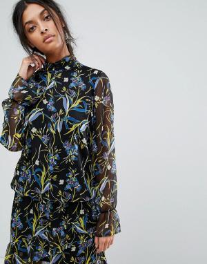 Gestuz Полупрозрачная блузка с принтом. Цвет: мульти