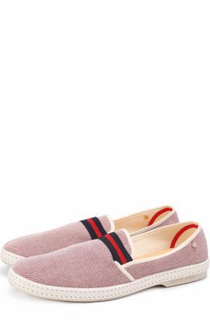 Текстильные эспадрильи с контрастной отделкой Rivieras Leisure Shoes. Цвет: розовый