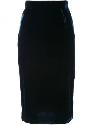 Бархатная юбка-карандаш Cityshop. Цвет: синий