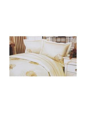 Комплект постельного белья с вышивкой 4 предмета HAMRAN. Цвет: белый, молочный