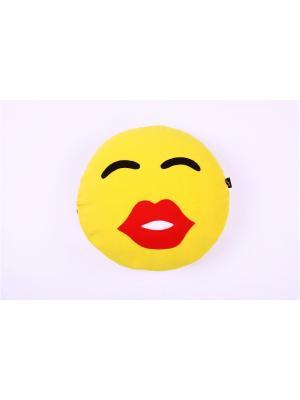 Подушка флисовый смайл Поцелуйчик ЛисФлис. Цвет: желтый