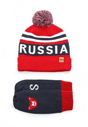 Комплект шапка и варежки Helly Hansen. Цвет: красный