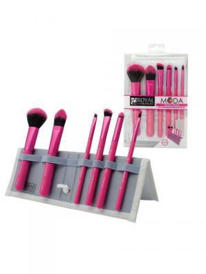 Royal & Langnickel MODA  TOTAL FACE SET. Набор кистей для макияжа всего лица в чехле Royal&Langnickel. Цвет: розовый