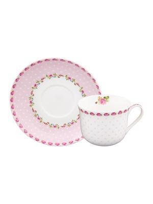 Чайная пара Горошек с розами на розовом Elan Gallery. Цвет: белый,розовый