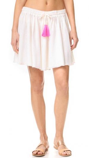 Мини-юбка со сборками Surf Bazaar. Цвет: белый