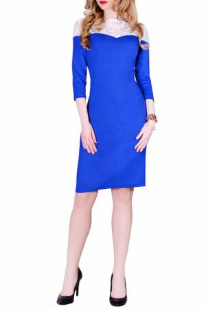 Платье La cafe. Цвет: ярко-синий, белый