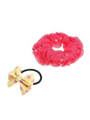 Комплект резинок для волос Gusachi. Цвет: розовый, желтый, черный