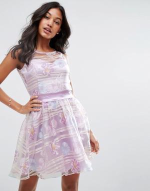 Zibi London Платье из органзы с цветочным принтом и атласным поясом. Цвет: фиолетовый