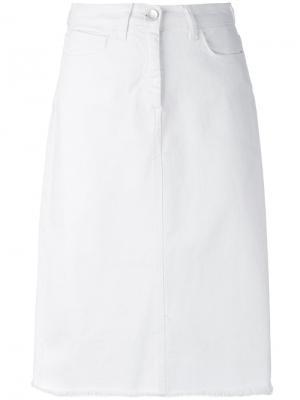 Denim A-line skirt Federica Tosi. Цвет: белый
