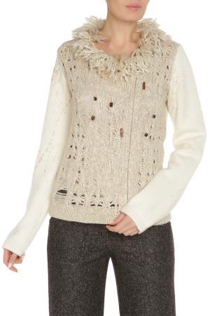 Полуприлегающий свитер с застежкой на молнию Gattinoni. Цвет: бежевый