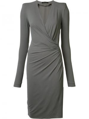 Платье с запахом Alexandre Vauthier. Цвет: серый