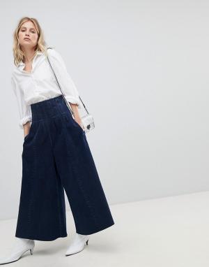 ASOS Джинсы с широкими штанинами и отделкой пояса в стиле корсета DESI. Цвет: синий