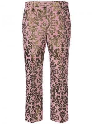 Жаккардовые укороченные брюки Cara Pt01. Цвет: розовый и фиолетовый