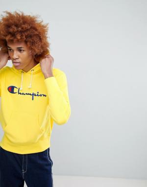 Champion Желтый худи с большим логотипом. Цвет: желтый