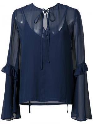 Блузка  с расклешенными рукавами Robert Rodriguez. Цвет: синий