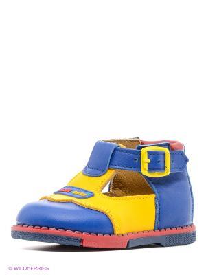 Туфли ТАШИ ОРТО. Цвет: синий, желтый