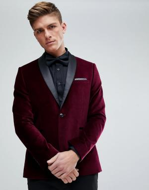 Burton Menswear Бордовый бархатный облегающий блейзер. Цвет: золотой