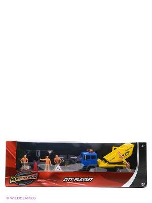 Игровой набор Строительная команда с желтым грузовиком HTI. Цвет: желтый, синий