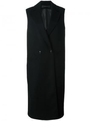 Двубортное пальто без рукавов Federica Tosi. Цвет: чёрный
