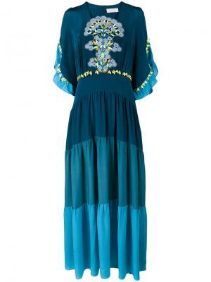 Платье-макси с вставками из гипюрного кружева Peter Pilotto. Цвет: синий