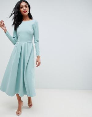 Closet London Платье с длинными рукавами. Цвет: зеленый