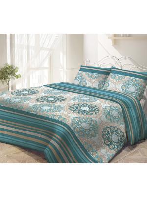 Комплект постельного белья Волшебная ночь. Цвет: серо-коричневый, голубой