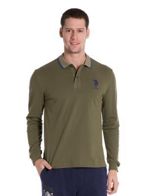 Лонгслив-поло U.S. Polo Assn.. Цвет: коричневый