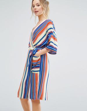 Closet London Платье в полоску с запахом и рукавами кимоно - Мульти 5950322