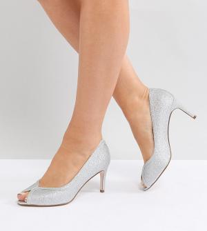 ASOS Туфли для широкой стопы на каблуке DESIGN Summer. Цвет: серебряный