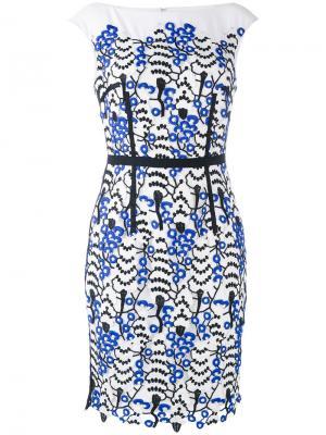 Платье-шифт с кружевной аппликацией Talbot Runhof. Цвет: белый
