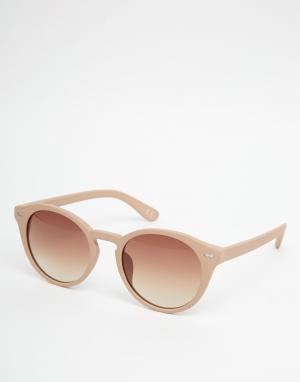 ASOS Солнцезащитные очки в круглой прорезиненной оправе. Цвет: бежевый