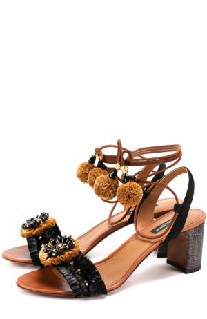 Комбинированные босоножки с декором на устойчивом каблуке Dolce & Gabbana. Цвет: черный
