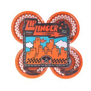 Колеса для скейтборда лонгборда  Zip Zinger Orange 78A 65 mm Krooked. Цвет: оранжевый