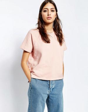 See You Never Denim Розовая футболка со ступенчатой кромкой. Цвет: розовый