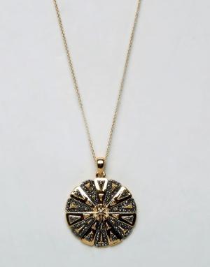 House of Harlow Ожерелье с гравированным цветком. Цвет: золотой