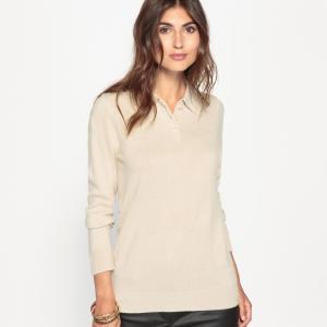 Пуловер с воротником-поло из ткани, напоминающей на ощупь кашемир ANNE WEYBURN. Цвет: бежевый,зеленый,розовая пудра,серый