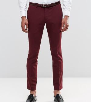 Noose & Monkey Супероблегающие брюки из хлопкового атласа. Цвет: красный