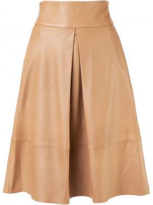 Кожаная юбка А-образного силуэта Martin Grant. Цвет: телесный